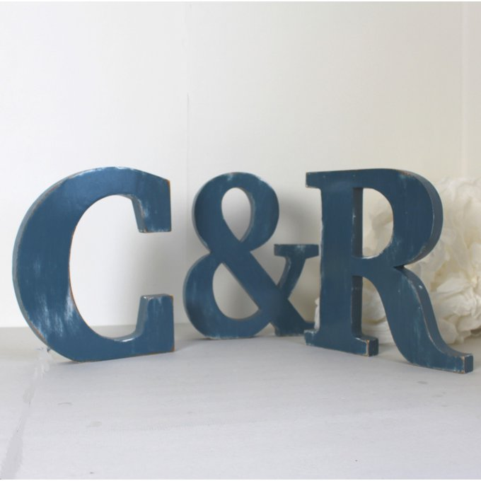 lettres en bois c r poser bleu ardoise patin mariage d coration saint valentin. Black Bedroom Furniture Sets. Home Design Ideas