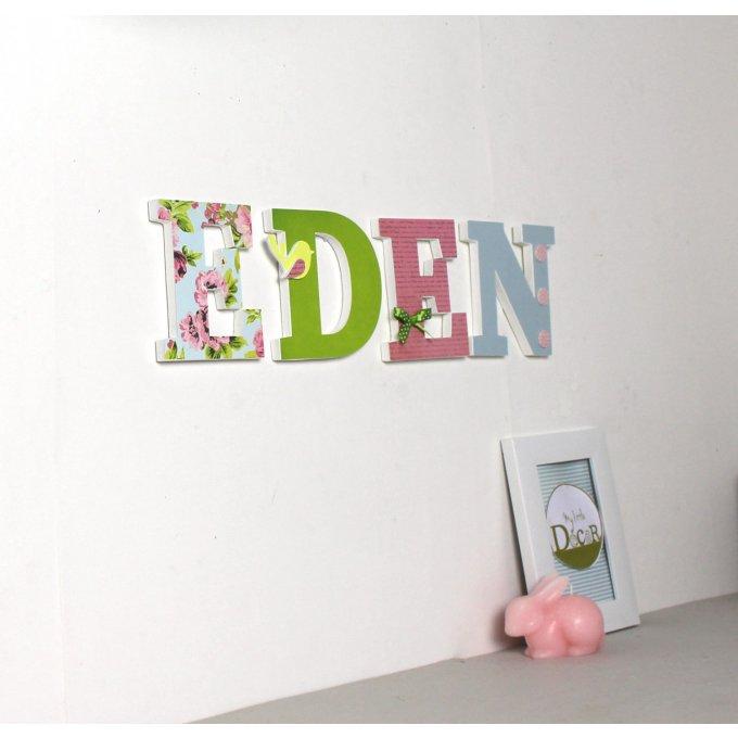 lettres en bois eden personnalis es dans les tons acidul s naissance chambre b b. Black Bedroom Furniture Sets. Home Design Ideas