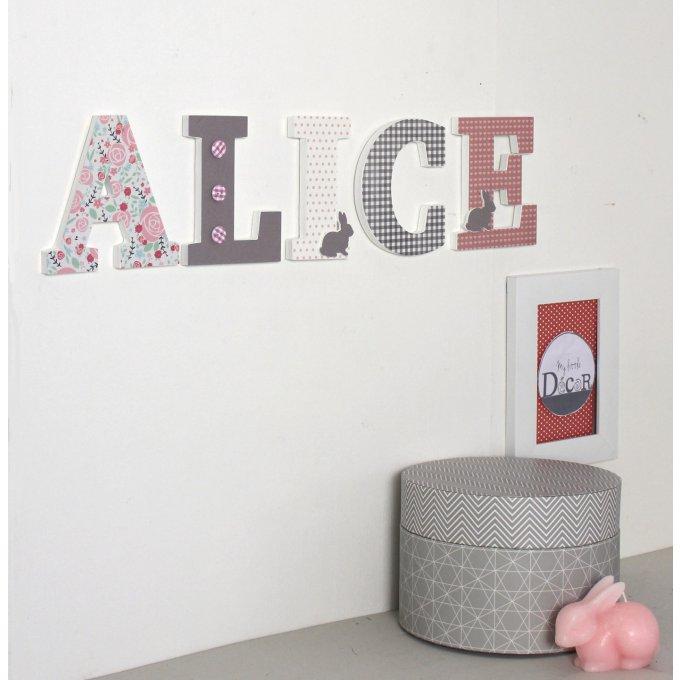 Pr nom alice gris vieux rose avec des lapins cadeau de naissance fille lettres d coratives - Chambre vieux rose et gris ...