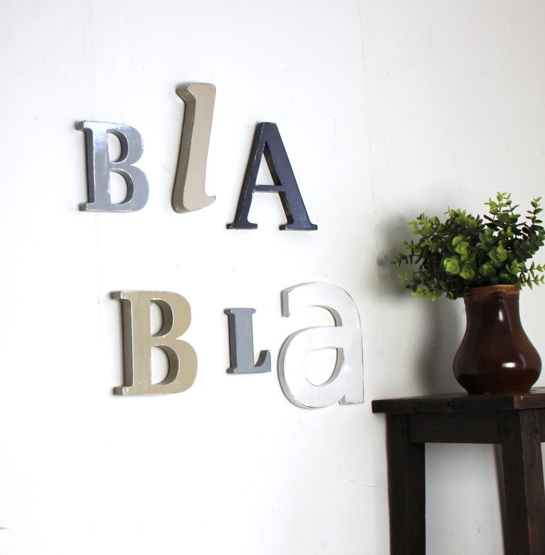 Lettres En Bois Bla Bla Gris Blanc Taupe Clair Mylittledecor Fr