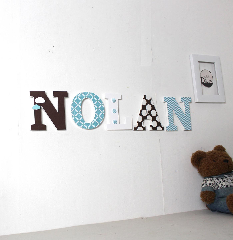 Lettres en bois NOLAN bleu et marron - prénom personnalisé - lettres  décoratives- mylittledecor