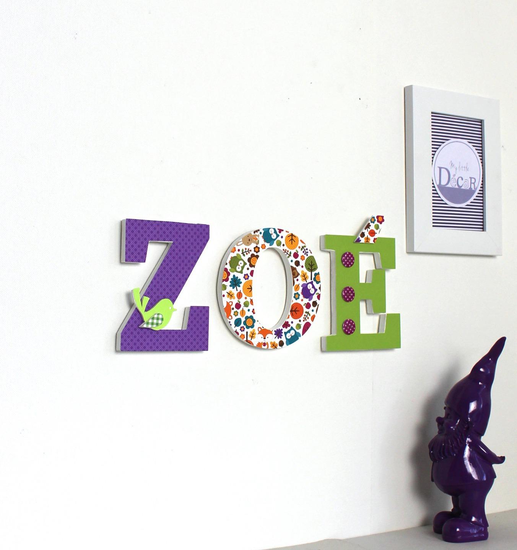 Prénom Zoé En Lettres Décorées Violet Vert Thème Forêt
