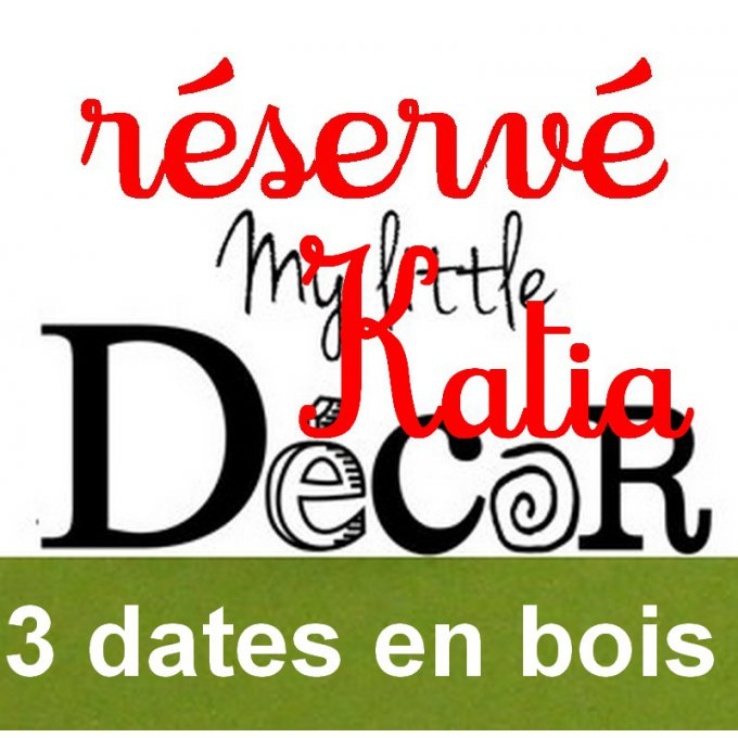 Lot de 3 dates en bois